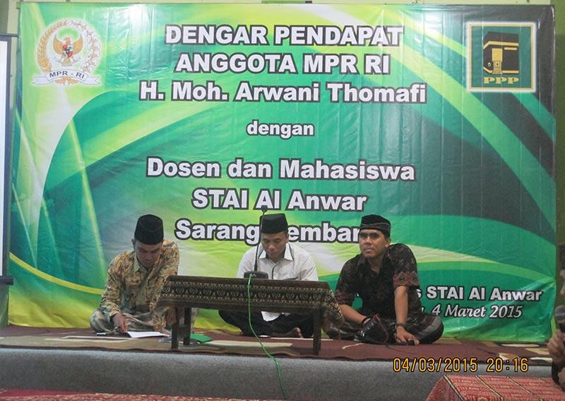 Mahasiswa STAI AL-Anwar Kritis Dalam Dengar Pendapat Bareng Anggota MPR RI