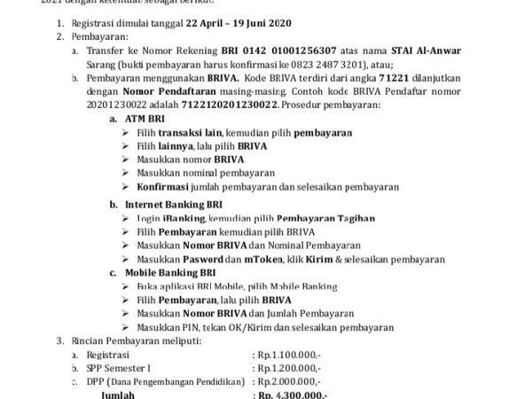 Prosedur Registrasi Mahasiswa Baru Tahun 2020