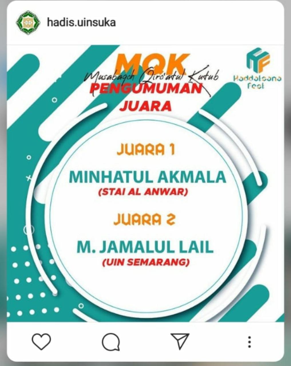 Juara 1 MQK Pekan Raya IAT UIN Sunan Kalijaga Yogyakarta