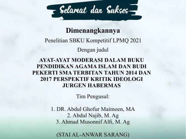 Tim Peneliti STAI Al-Anwar yang Diketuai Dr. Abdul Ghofur Maimoen, MA Lolos Hibah Penelitian SBKU Kemenag